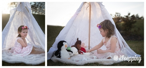 sweet girl in a tent